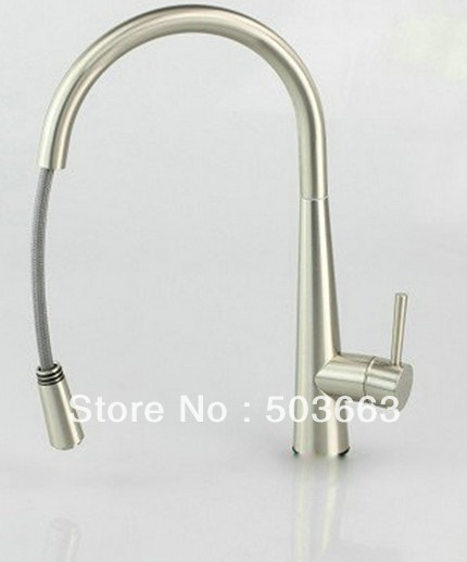 Wholesale 16Nickle Swivel Spout for 2 Sinks Kitchen Brass Faucet Basin Sink Pull Out Spray Single Handle Mixer Tap S-785 wholesale and retail polished chrome brass spray kitchen sink faucet swivel spout pull out vessel sink mixer taps wsf061
