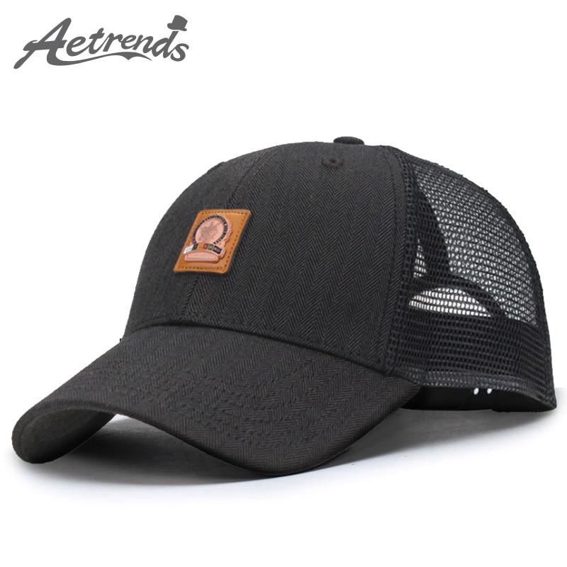[AETRENDS] Black cap gorras de béisbol de malla 2018 sombreros de verano para hombres gorras deportivas al aire libre camión de golf sombrero personalizado snapback Z-3889