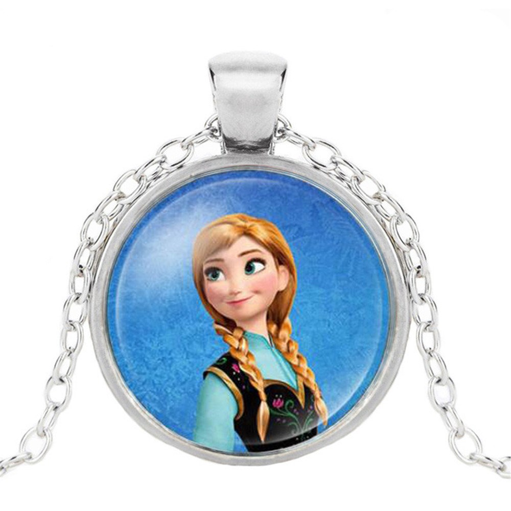 Новая мода популярное женское ожерелье Кристалл ювелирные изделия выпуклая круглая Принцесса Подвеска Ожерелье Девушка - Окраска металла: 6