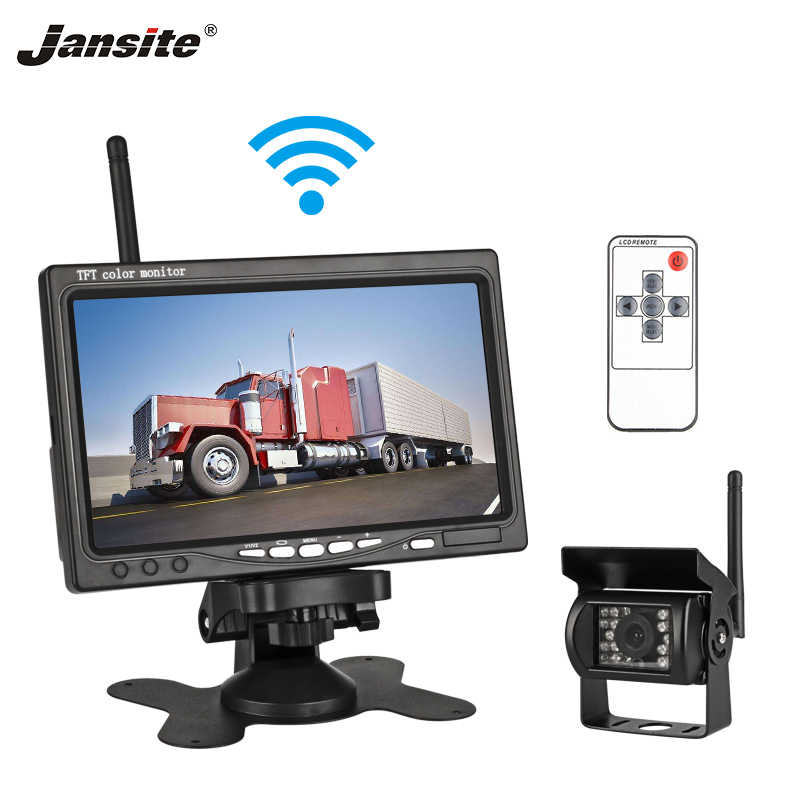"Jansite 7"" Wireless Car monitor TFT LCD Car Rear View Monitor Parking Rearview System for Backup Reverse Cameras Support Auto TV"