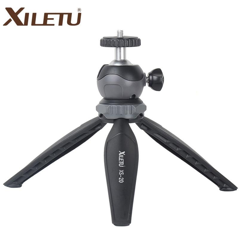 XILETU XS-20 มินิสก์ท็อปโทรศัพท์เล็ก ๆ น้อย ๆ ยืนโต๊ะขาตั้งกล้องสำหรับกล้อง Mirrorless กล้องโทรศัพท์สมาร์ทที่มีหัวลูกที่ถอดออกได้