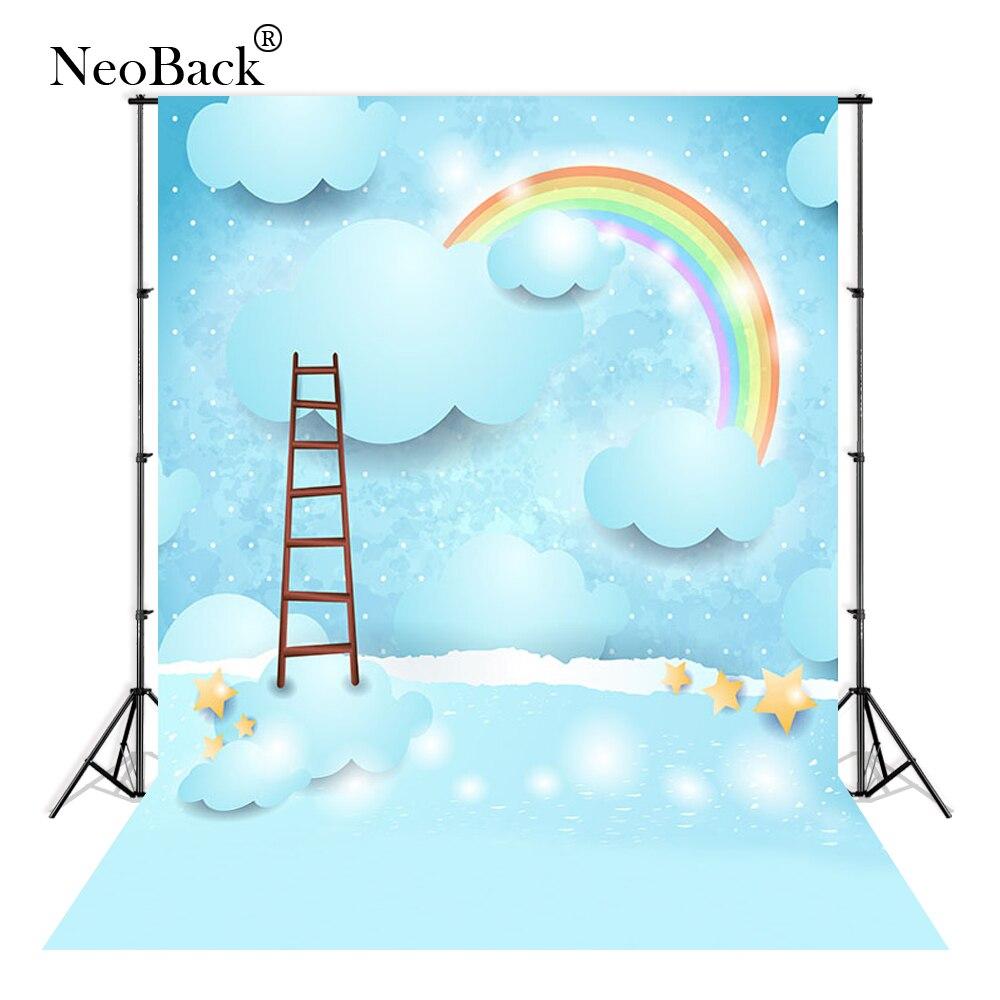 Thin Vinyl Cloudy rainbow ladder blue stars cartoon baby photographic backgrounds studio new born shower photo backdrop