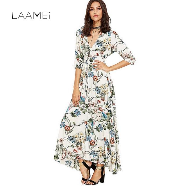 Laamei глубокий v-образным вырезом Свободные длинное пляжное платье женский с цветочным принтом сезон: весна–лето Boho Платья для женщин для Для женщин пикантные Сарафан Vestidos