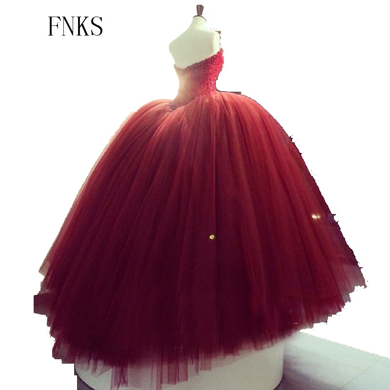 2017 Marsala Red Wedding Dresses Beaded Crystals Y V Neck Ball Gown Bridal Dress Corset Puffy Tulle Gowns Basque In From Weddings