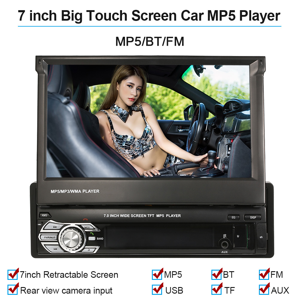 Universal 7inch Retractable MP5 Player Car Stereo Radio Player Multimedia Entertainment with Bluetooth FM USB SDUniversal 7inch Retractable MP5 Player Car Stereo Radio Player Multimedia Entertainment with Bluetooth FM USB SD
