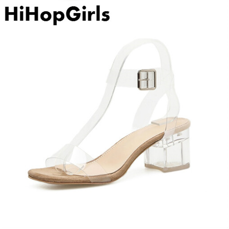 HiHopGirls 2018 newSummer hot Roman Transparent crystal film Women Shoes sexy High Heels fashion Buckle party Pumps Woman Sandal ...
