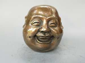 Chinese pure brass pleasure, anger, sorrow, joy four face Buddha head statue