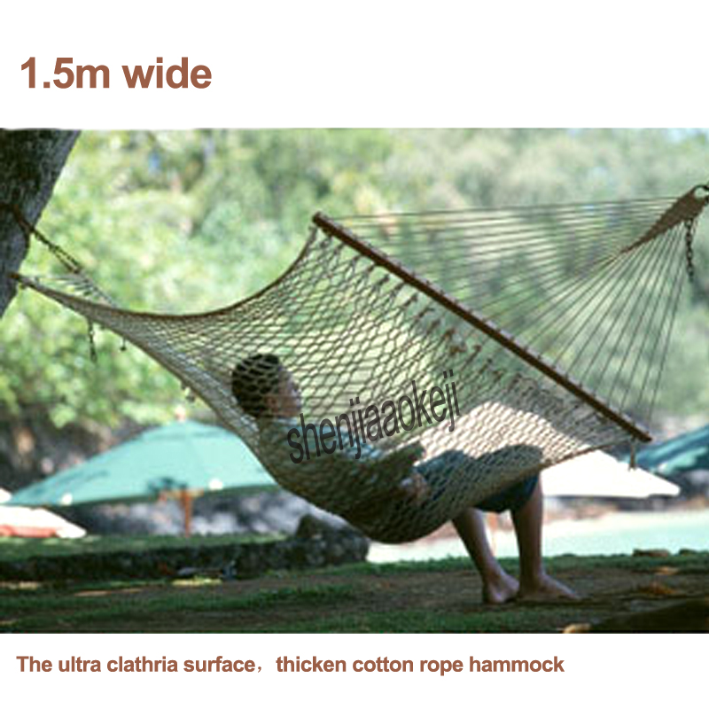 1pc 200*150cm Portable Reticularis Outdoor Double Casual Hammock 1.5m Wide Lovers Hammock For Balcony / Yard Withstand 200kg