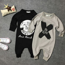 Fashion Baby Girls Boys Cotton Black/Grey Romper Jumpsuit One-piece No Sleep to the Moon Letter Printed Outfits 0-2M
