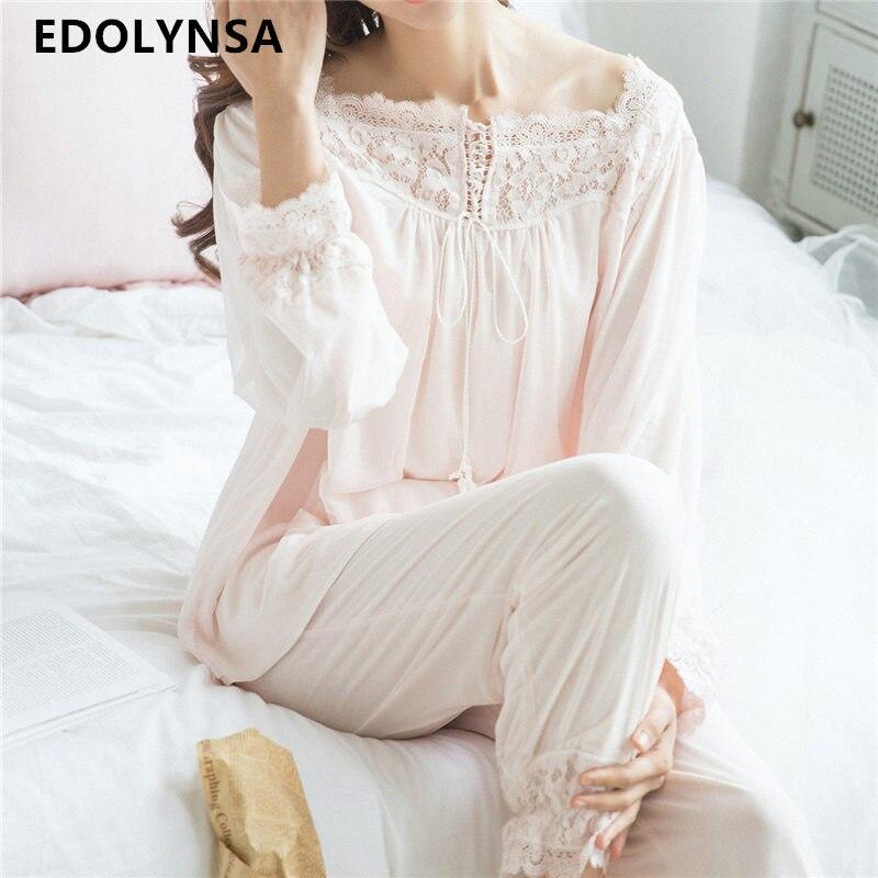 Lace Pajama Sets 2017 Long Sleeve Sleepwear Sexy Women Character Home Wear Vintage Indoor Clothing Pyjamas
