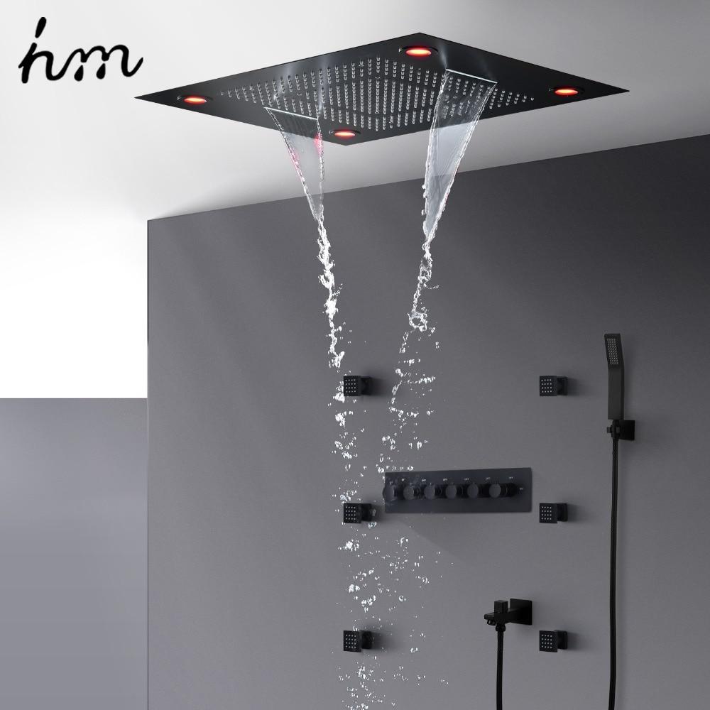 Ensemble de douche multifonction hm télécommande LED système de douche en laiton noir clair