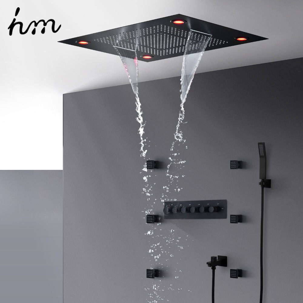 hm Multi-Function Shower Set Led Remote Control Light Black Brass Shower Systemhm Multi-Function Shower Set Led Remote Control Light Black Brass Shower System
