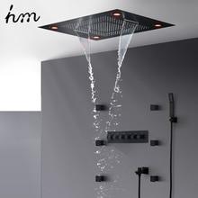 цена hm Multi-Function Shower Set Led Remote Control Light Black Brass Shower System онлайн в 2017 году