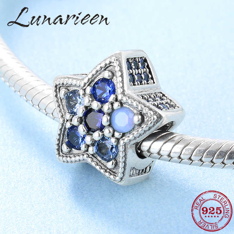 Новые 925 пробы серебряные модные светло голубые красочные CZ звезды бусины