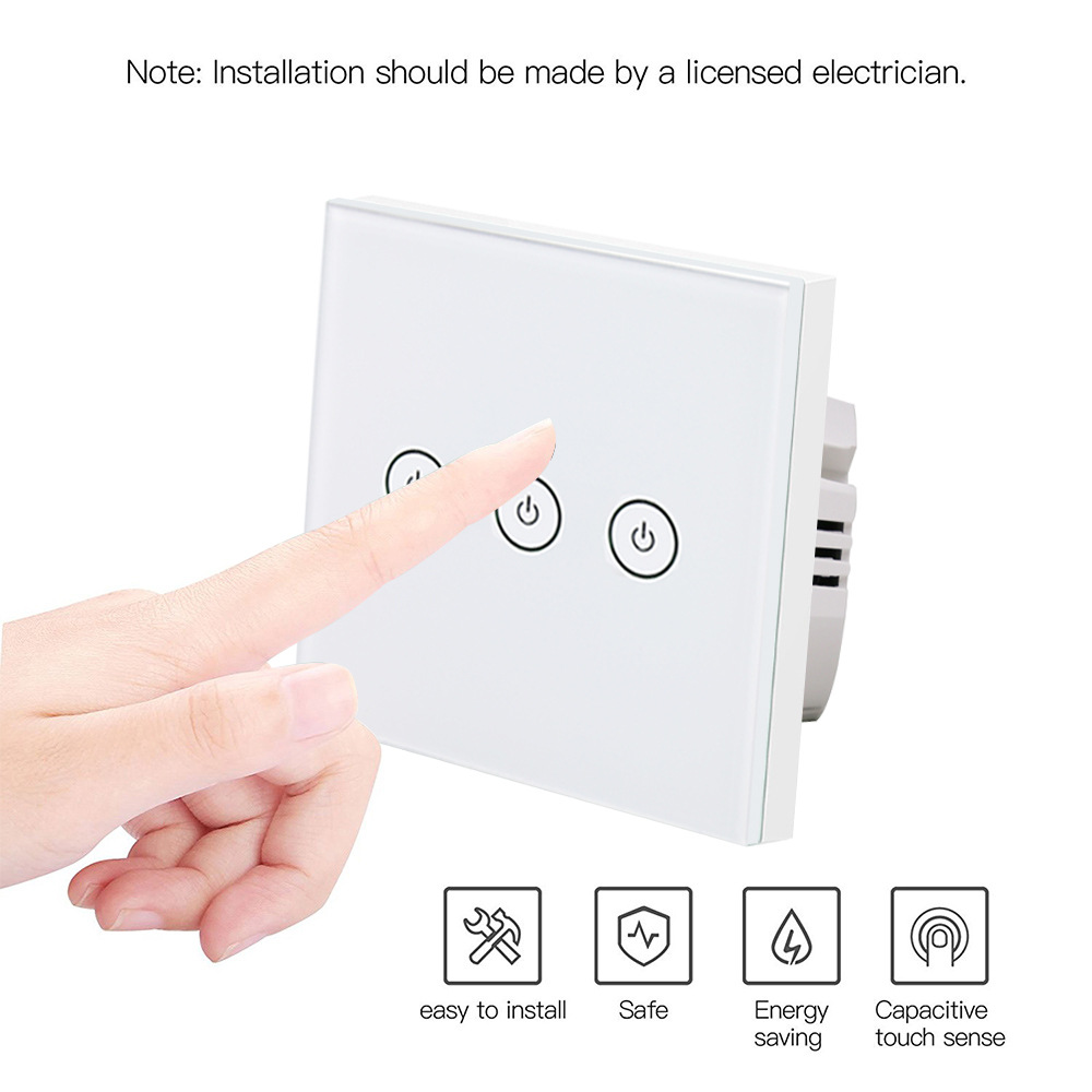 EU 3 Gang Wifi Wall Switch Wireless Remote Light Relay App Touch Control Wifi Smart Switch Work with Alexa google home app remote control wall switch eu uk us plug 1 2 3 gang wifi smart light switch work with alexa google black intelligent safety