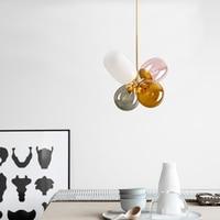 Nordic Stained Glass Pendant Lights Lighting Modern LED Pendant Lamps Living Room Bedroom Restaurant Kitchen Fixtures Luminaire