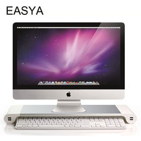 EASAY Aluminum Alloy Monitor Stand Space Bar Dock Desk Riser with 4 USB Ports for iMac MacBook Pro Computer Laptop Use