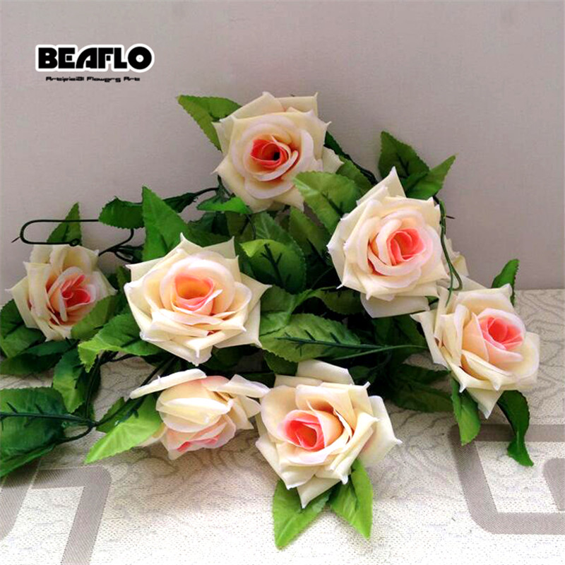 Silk Roses Artificial Flowers Rattan String Vine With Green Leaves For Hanging Garland Wall 3