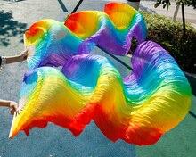 Hits velos de seda hechos a mano para danza del vientre, 1 par de colores del arco iris, 2018
