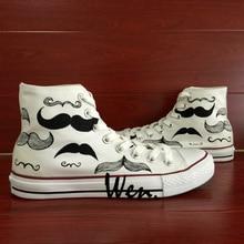 Wen Original Hand Painted Shoes Design Custom Beard Men Women's White Men Women's High Top Canvas Sneakers Birthday Gifts
