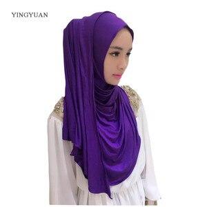 Image 5 - 0TJ57 hiyab liso de 180x70cm para mujer, bufandas musulmanas, de alta calidad Hijab, hermoso gorro chal de moda (with1 Undescarf