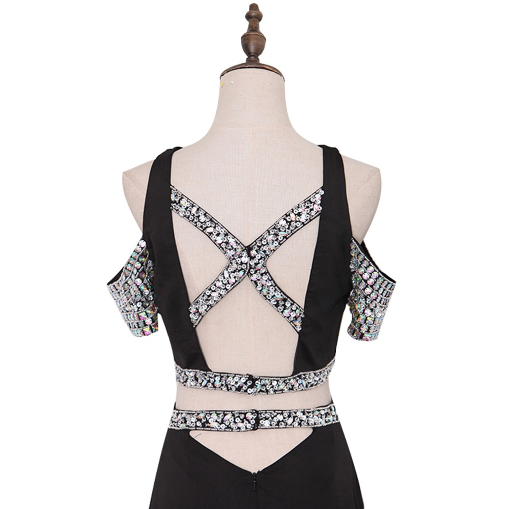 ANTI Sexy Backless Prom Dresses Long Black Beaded Crystal Vestidos De Festa  Mermaid Party Gala Dress Cap Sleeve Sweep Train-in Prom Dresses from  Weddings ... 6f77595e4ea9