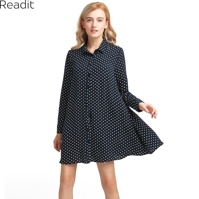fe664fcba1136f Readit Women Shirt Dress Boho Casual Midi Dress Women Bohemian Navy Polka  Dot Print Long Sleeve Plus Size Shirt Dress D2403