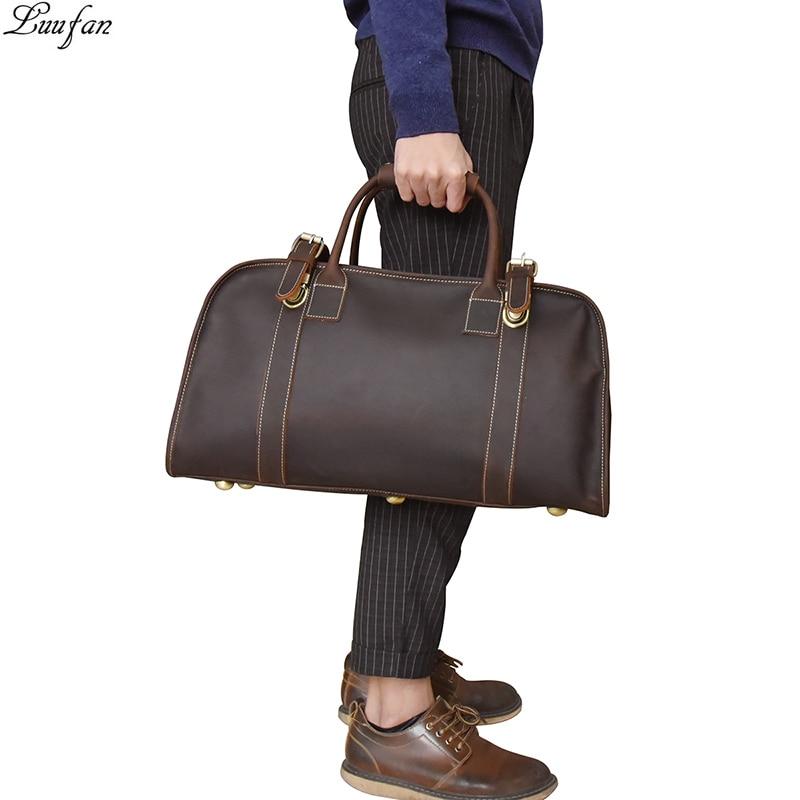 Vintage Men Travel Bag Crazy Horse Genuine Leather Big Travel Duffel Male  Carry On Luggage Weekend dbaf15f79c1c0