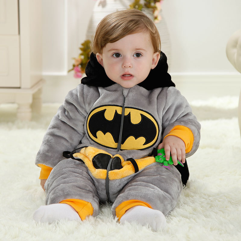 Batman Winter Baby Overalls Gray Baby Boys & Girls Romper Christmas Halloween Costume 1 Year Old Toddlers Baby Clothes RL11-12 kids clothes fleece romper set baby boys girls jumpsuits overalls 2015 winter animal cosplay shapes halloween christmas costume