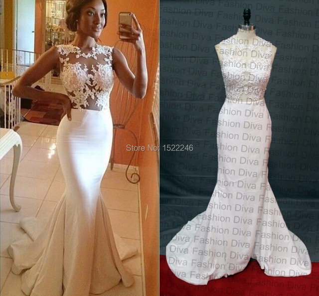 Real Photo 2015 Sexy Mermaid See Through White Long Tight Prom Dresses  Applique Sleeveless Court Train Satin Evening Gown Robe fd351676ed1a