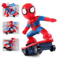 Never Fall Down RC Skateboard Spiderman Light Sound Toys Flash RC Toy for Kids RC Skateboard