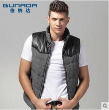 Men Winter Wool Vest Man Business Casual Leather Sticthing Slim Sleeveless Cotton Jacket Male Striped Winter Warm Waistcoat S904