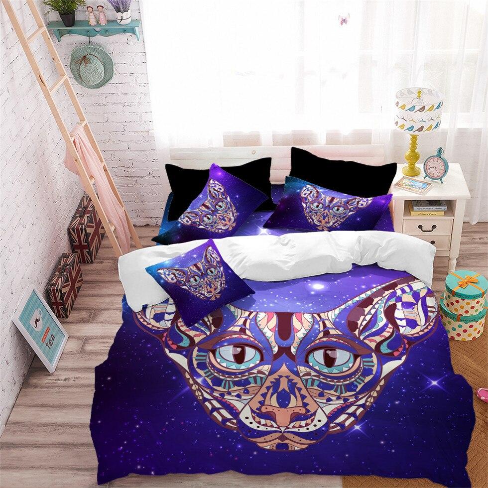 Multi Color Animal Cat Print Bedding Set Modern Elephant
