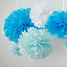 5pcs 6''-12'' Tissue Paper Pompoms Wedding Decorative Paper Flowers Ball Baby Shower Birthday Party Decoration paper pom poms(China)