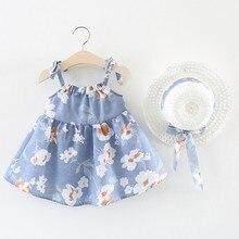 Платье для маленьких девочек платья для новорожденных без рукавов с цветочным рисунком для маленьких девочек платье принцессы с цветочным принтом+ шляпа, комплект одежды