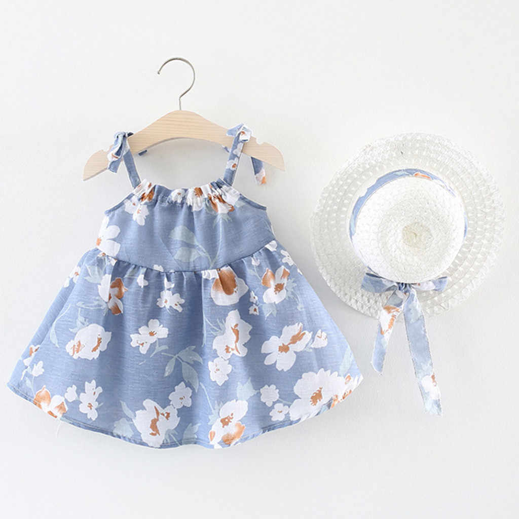 Infant Baby Girls dress Sleeveless Flower newborn dresses for baby girls clothes Floral Print Princess Dress+Hat set Outfits