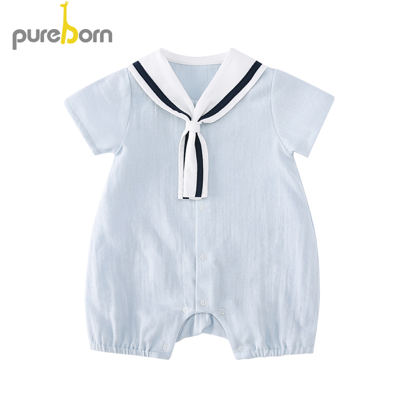 Pureborn Baby Romper Cotton Summer Baby Clothes Infant Baby Boy And Girl Clothes Navy Collar Clothes