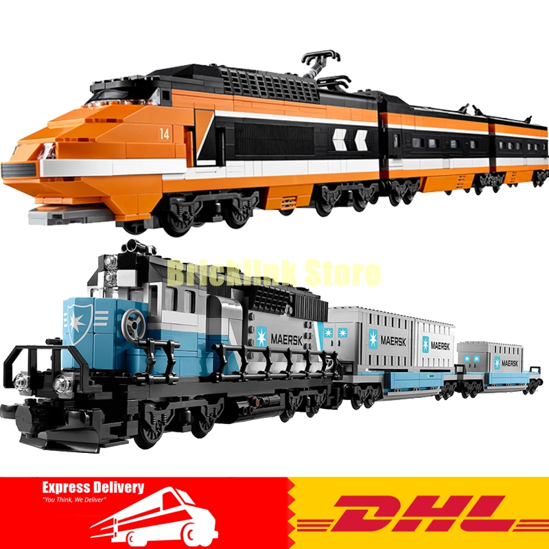 LEPIN Technic Series 21006 Maersk Train + 21007 The Sky Train Building Blocks Bricks Model Toys For Children Gifts 10219 10233 cargo train model block toys city rc train birthday gifts for children compatible lepin technic series building blocks set 02008