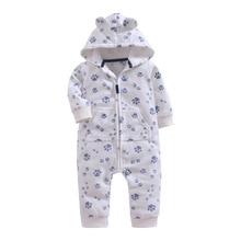 Winter Warm Fleece Baby Rompers hooded 9-24M Snow Pattern Baby Boy Girl Clothes Zipper Design Outwear Newborn Baby jumpsuit недорого
