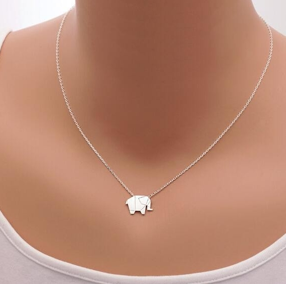 Jisensp Fashion Necklaces Origami Elephant Geometric Origami Necklace Woodland Elephant Animal Jewelry Mother's Day Gift N192