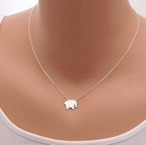 Jisensp Fashion Necklaces Origami Elephant Geometric Necklace Woodland Elephant Animal Jewelry Collar Mother's Day Gift N192