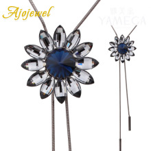 Ajojewel Vintage Antique Necklace Blue Crytal Sunflower Pendant Long Sweater Chain Accessories Jewelry