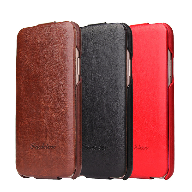 Luxury Filp Cover Retro Case for iPhone X Vintage Leather Solid Color Shockproof