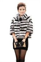 ノーブルレディースリアルrexウサギの毛皮のジャケット模