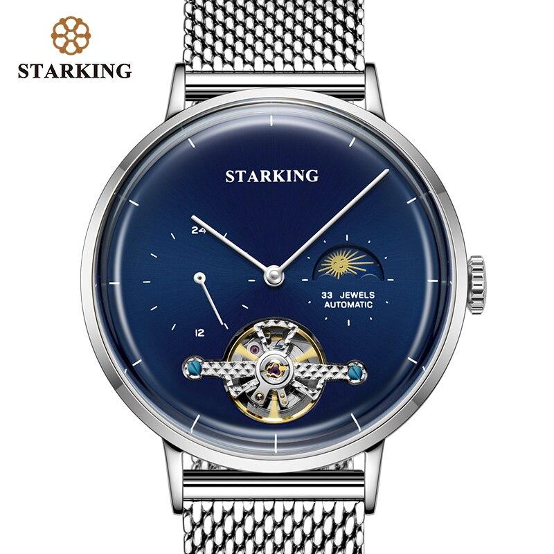 STARKING Nouvelle Arrivée Montre Automatique Saphir Hommes De Luxe Marque 50 m Étanche Montre-Bracelet Mécanique Phase de Lune Horloge Hommes AM0283