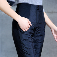 New Fashion 4XL Big Size Women's Winter Pencil Trousers High Waist Down Cotton Padded Warm Pants For Female Slim Casual Pants