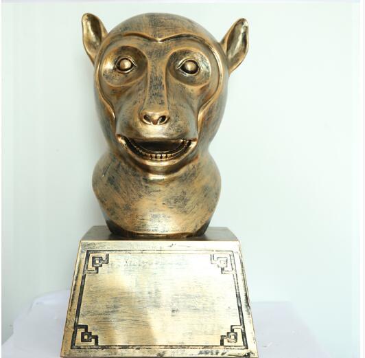 Matériel: résine Ming et qing dynasties artisanat pur animal tête porche artisanat poulet chien cochon tigre lapin serpent cheval