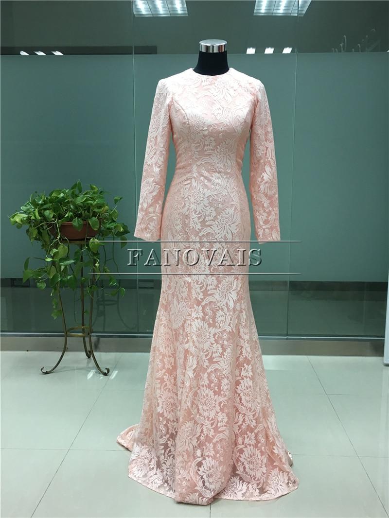 Real Photo Elegant Dubai Muslim Aftonklänningar Lång Ärmar Lace - Särskilda tillfällen klänningar - Foto 2