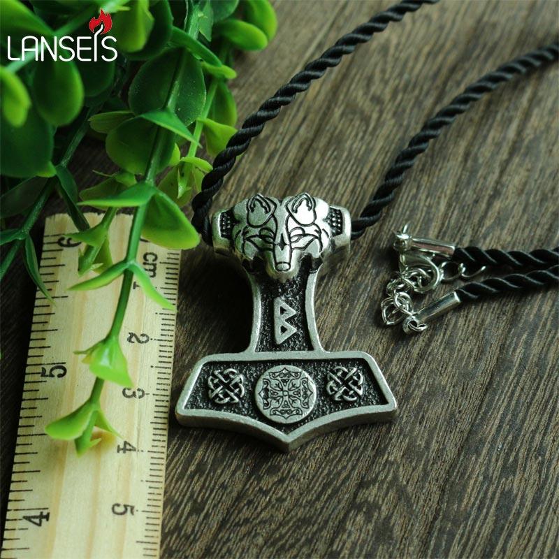 1pcs wholesale norse odin's wolf Thor Hammer pendant viking Norway valknut symbol necklace men pendant Amulets jewelry
