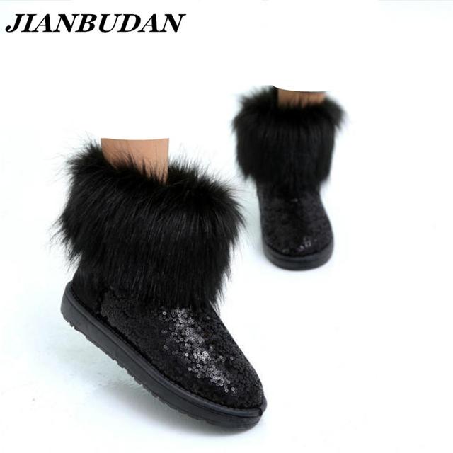 JIANBUDAN Novas mulheres Imitação de pele de raposa botas botas de neve à prova d' água sapatos com lantejoulas Meninas de pele quente grossa crosta de neve botas